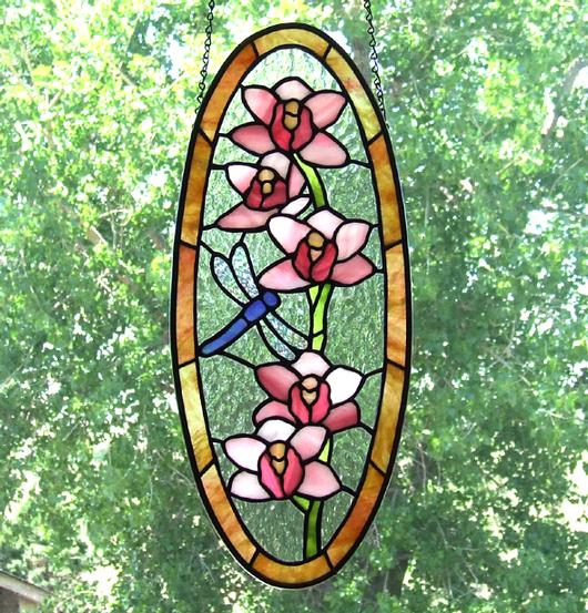 Orchid Stained Glass Panel With Dragnfly Delphi Artist
