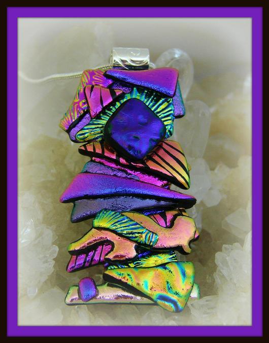 Fused Glass Dichroic Glass Purple Dichroic Glass Pendant Fused Glass Pendant Dichroic Glass Pendant