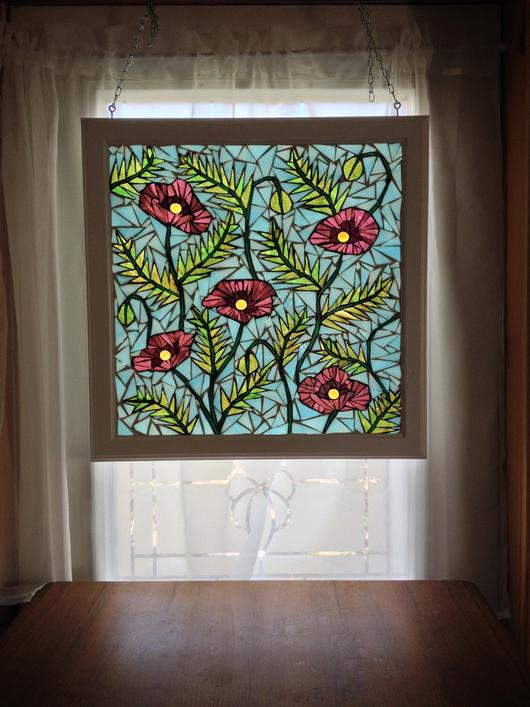 Pink Poppy Stained Glass Mosaic Panel Delphi Artist Gallery