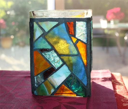 Stained Glass Candle Holder Mosaic Beach Jar Candle Holder Vase Pencil Holder Delphi Artist
