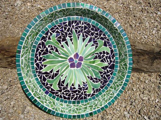 Mosaic Gl And Tile Bird Bath