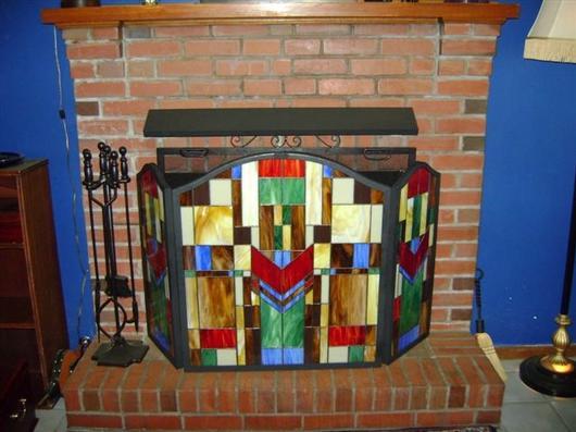 Prairie style fireplace screen delphi artist gallery for Prairie style fireplace