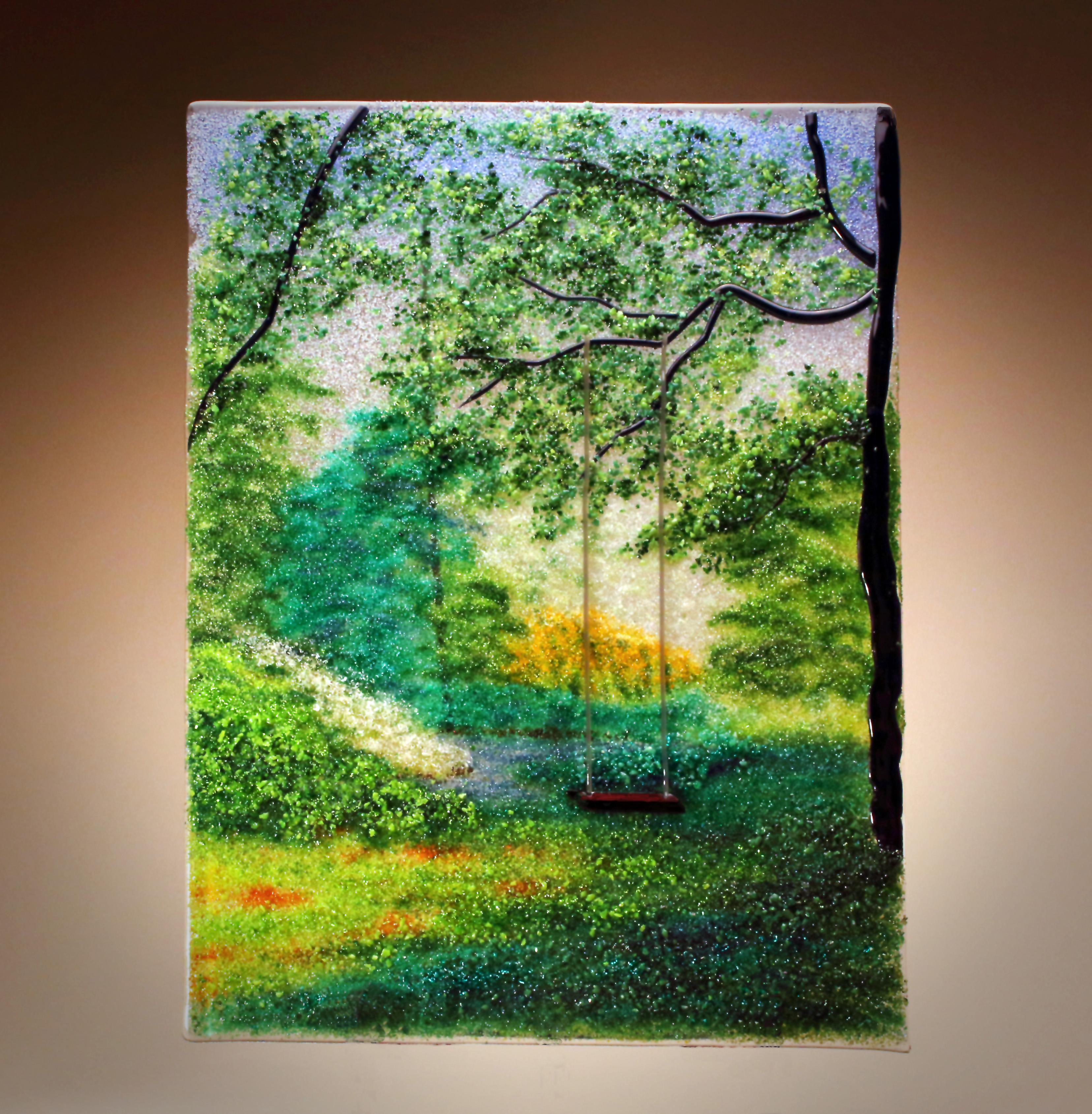 Quot Summer Serenity Quot Fused Glass Frit Painting Delphi