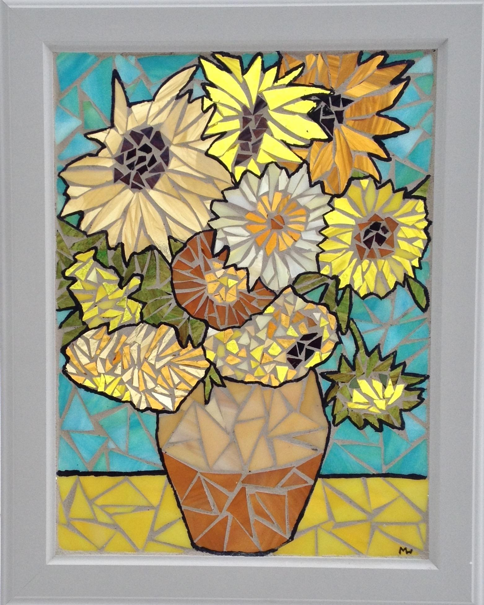 Van Gogh Sunflowers Inspired Stained Glass Mosaic Panel - Delphi ...