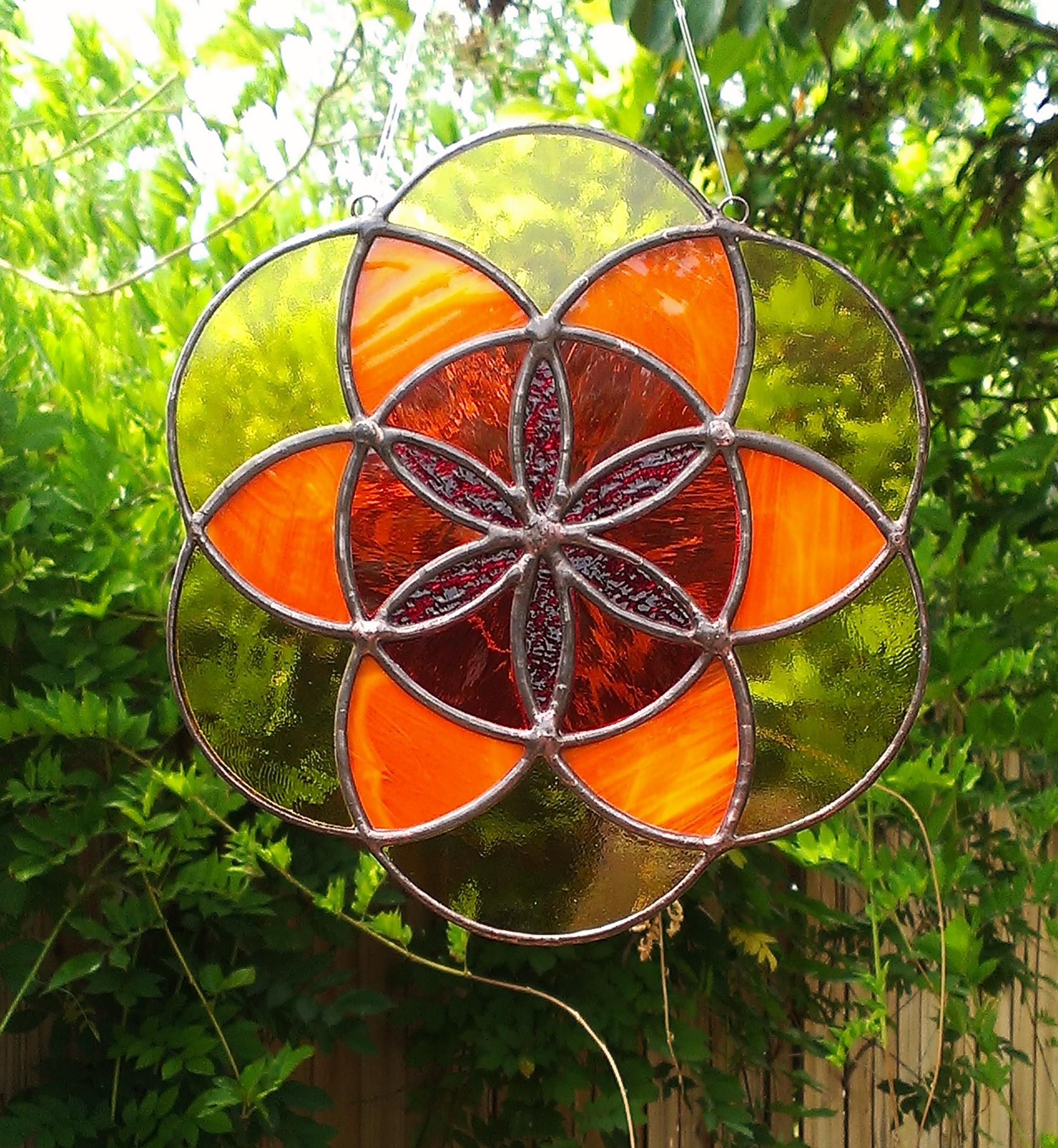 Seed Of Life Sacred Geometry Orange Yellow And Red Stained