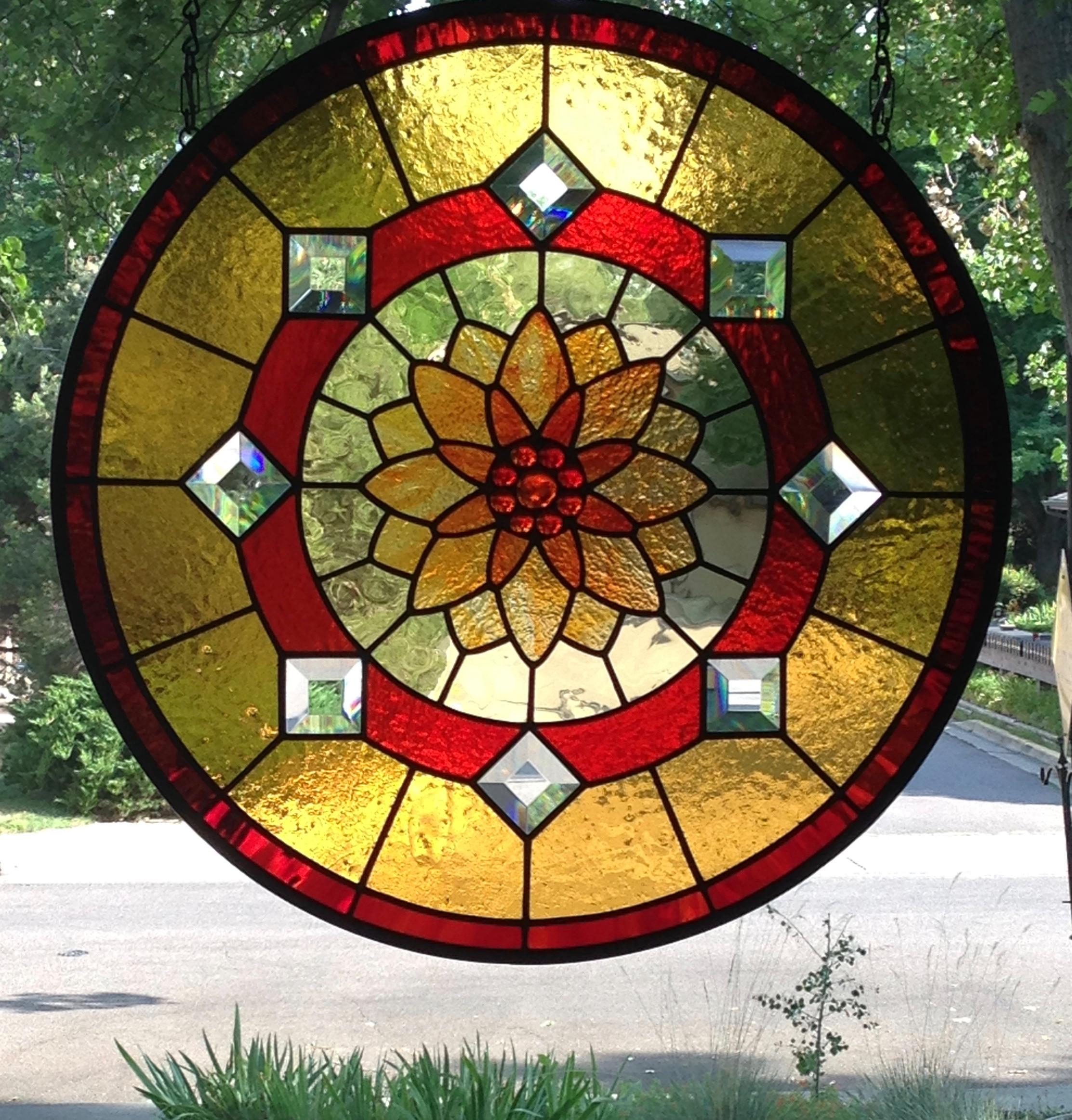 Lotus Flowerdmaundained Glass Window Panel Delphi