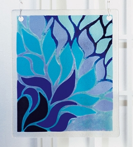 Blue Flame Hanging Panel Project Stained Glass Projects Ideas Fusing