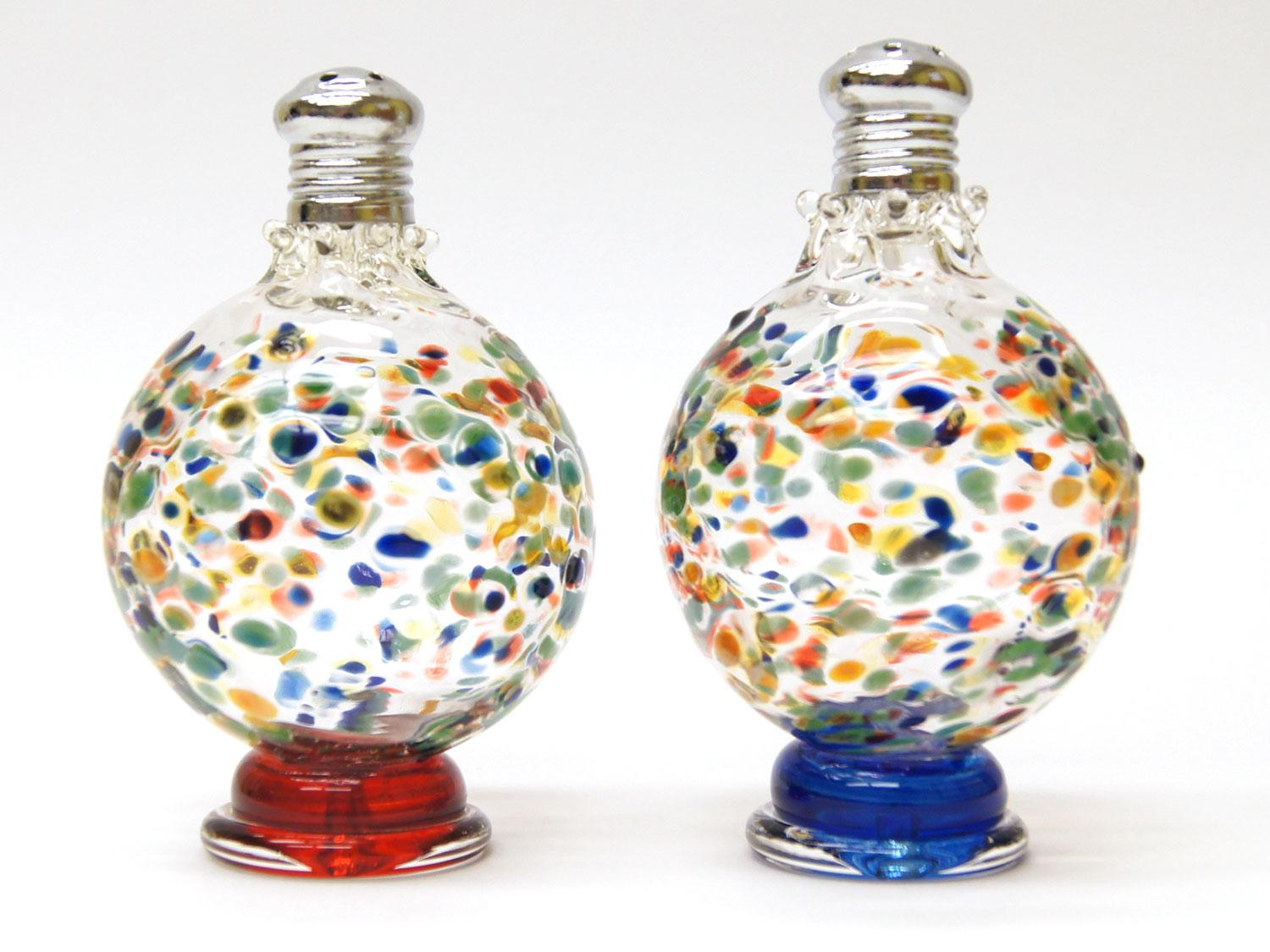 Multi colored confetti blown glass salt and pepper shakers Colorful salt and pepper shakers
