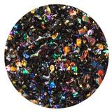 1 oz Rainbow Dichroic Medium Frit Flakes on Black - 90 COE