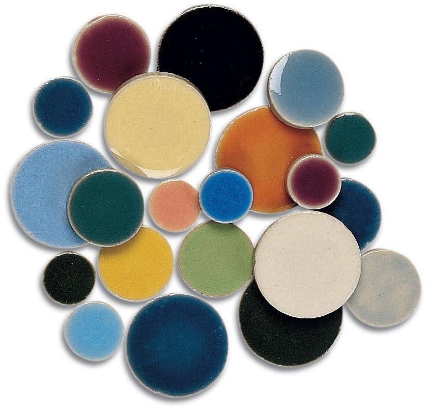Assorted Ceramic Round Tiles 1 Lb Stone Delphi Glass