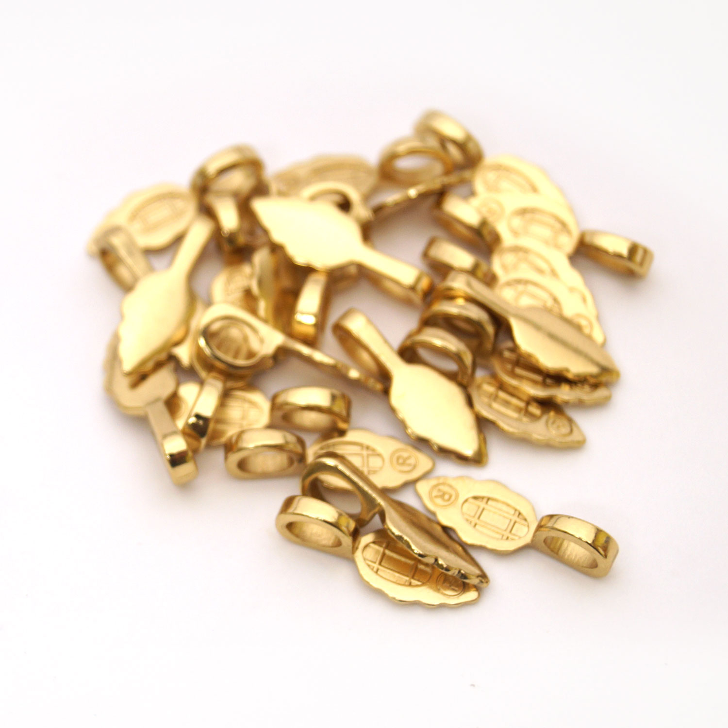 Large 18k Gold Plated Jewelry Bails 25 Pack And Clasps
