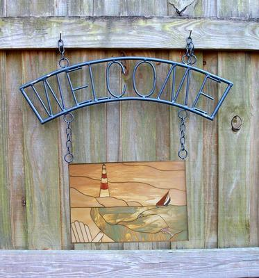 Wrought Iron Welcome Panel Hanger Delphi Glass