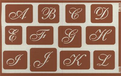 engraving letter templates - over n script alphabet stencil etching engraving delphi