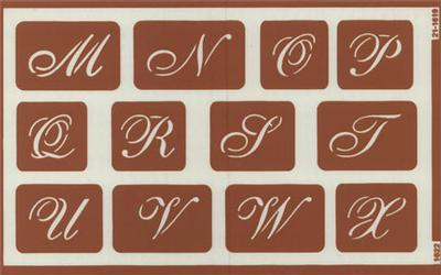 engraving letter templates - over n script alphabet and holiday greetings stencils