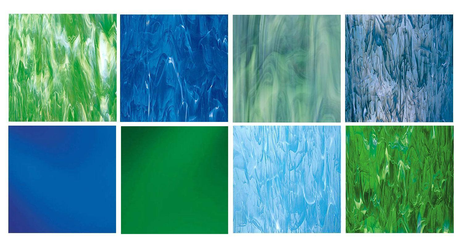 Spectrum Blue And Green Outdoor Glass Pack Stained Sheets