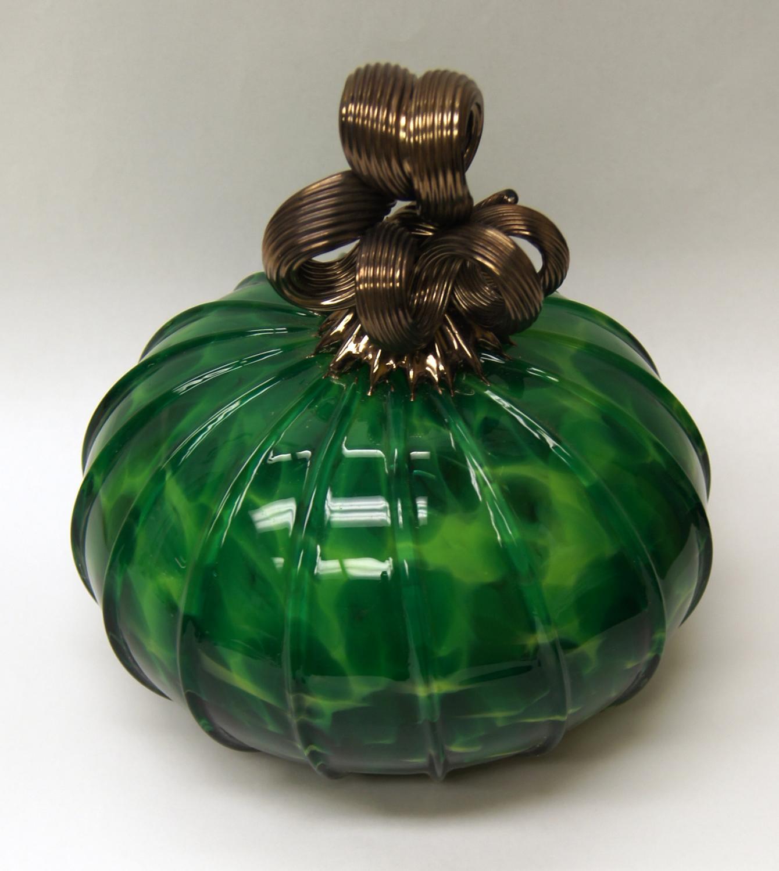 Green Blown Glass Pumpkin Rich Small