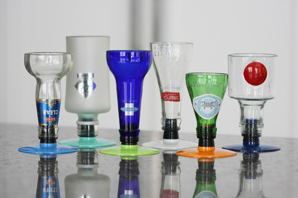Colored opaque bottle top stems 6 pack cutter art for How to use a glass cutter on a bottle