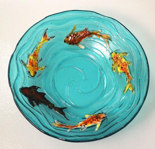 Koi waves texture mold delphi glass for Koi fish mold