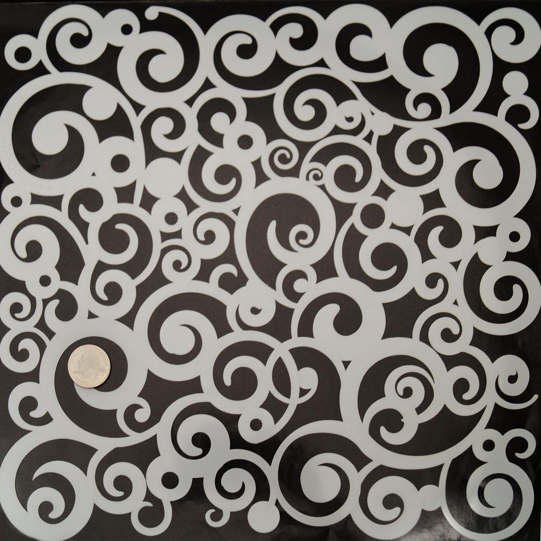 Cosmic Swirl Pattern Stencil Glass Delphi Glass