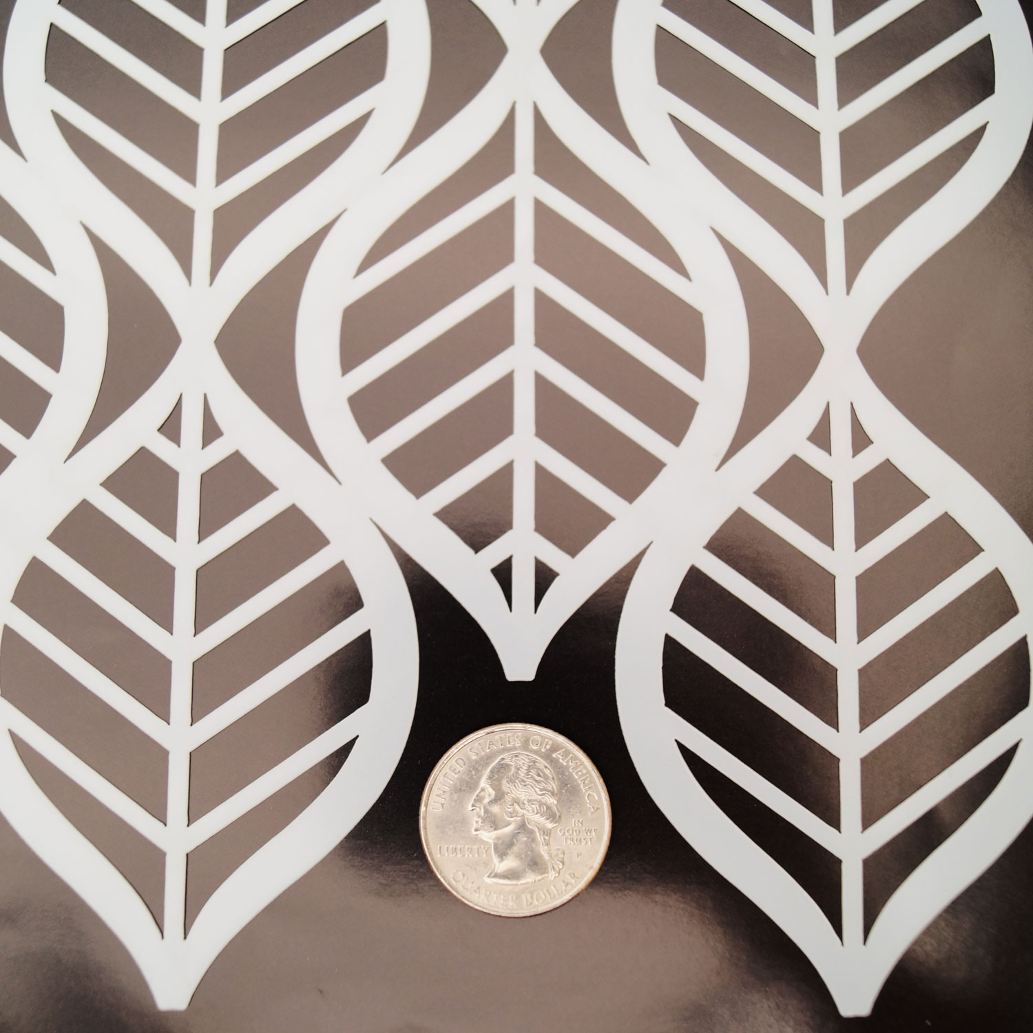 Art Deco Leaves Pattern Stencil Glass Delphi Glass